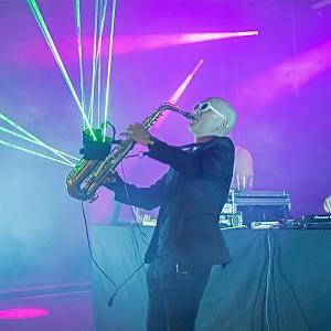 laser saxophone player